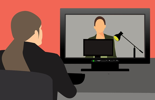 Illustration of a video call job interview